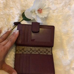 Authentic Maroon Leather Coach Medium Wallet
